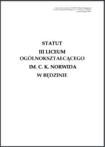 Statut 3 LO w Bedzinie Norwid